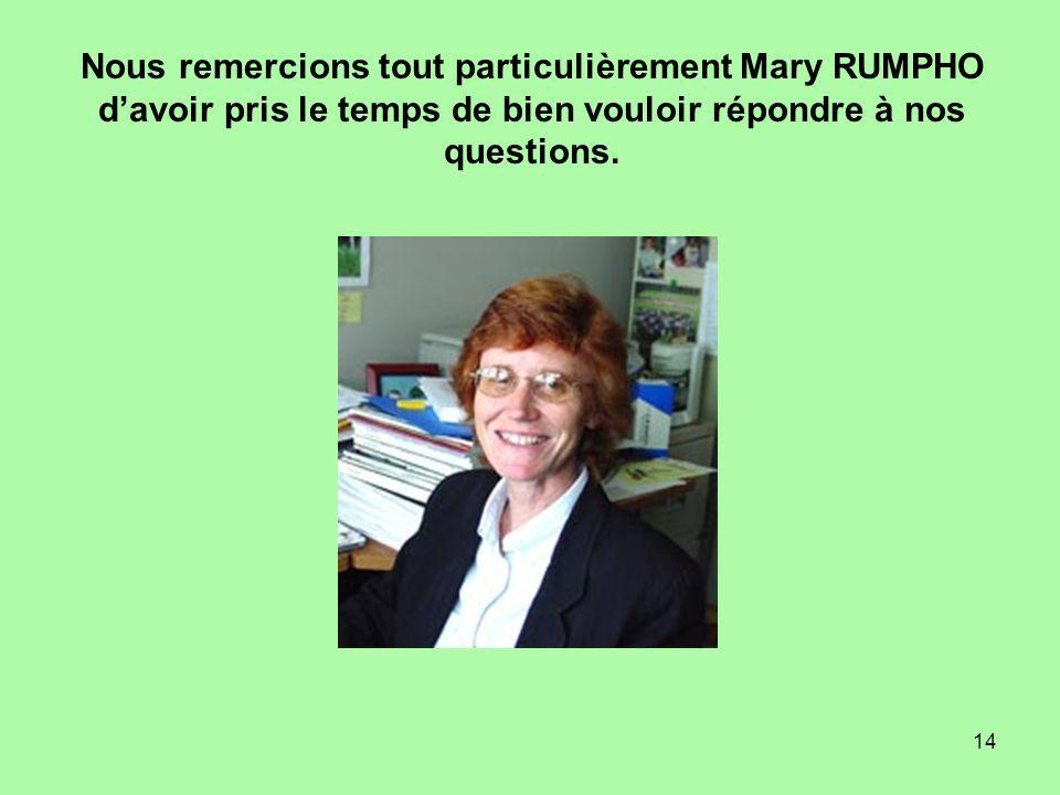 Nous remercions tout particulièrement Mary RUMPHO d'avoir pris le temps de bien vouloir répondre à nos questions.