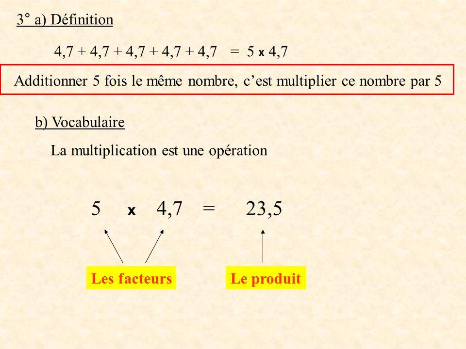 5 x 4,7 = 23,5 3° a) Définition 4,7 + 4,7 + 4,7 + 4,7 + 4,7 = 5 x 4,7