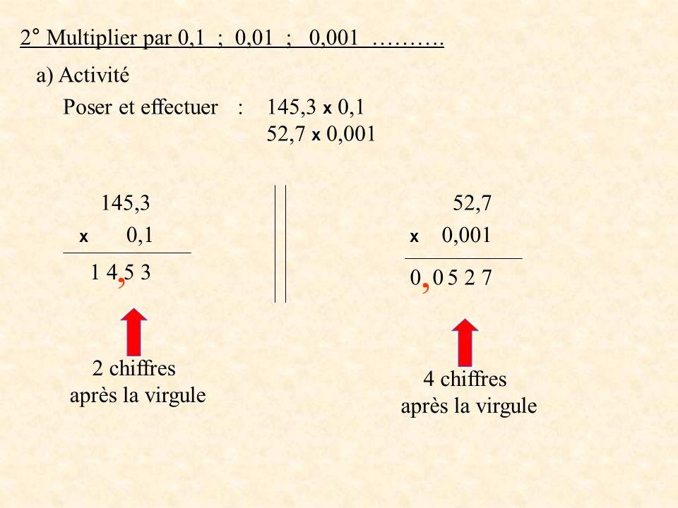 , , 2° Multiplier par 0,1 ; 0,01 ; 0,001 ………. a) Activité