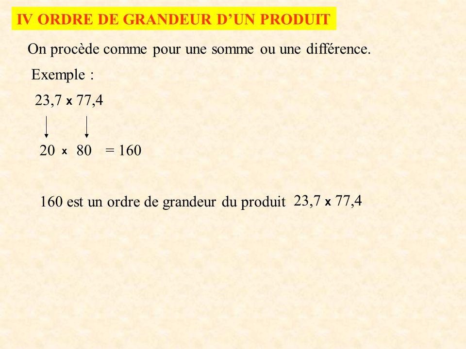 IV ORDRE DE GRANDEUR D'UN PRODUIT