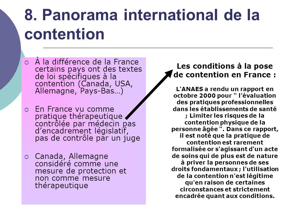8. Panorama international de la contention