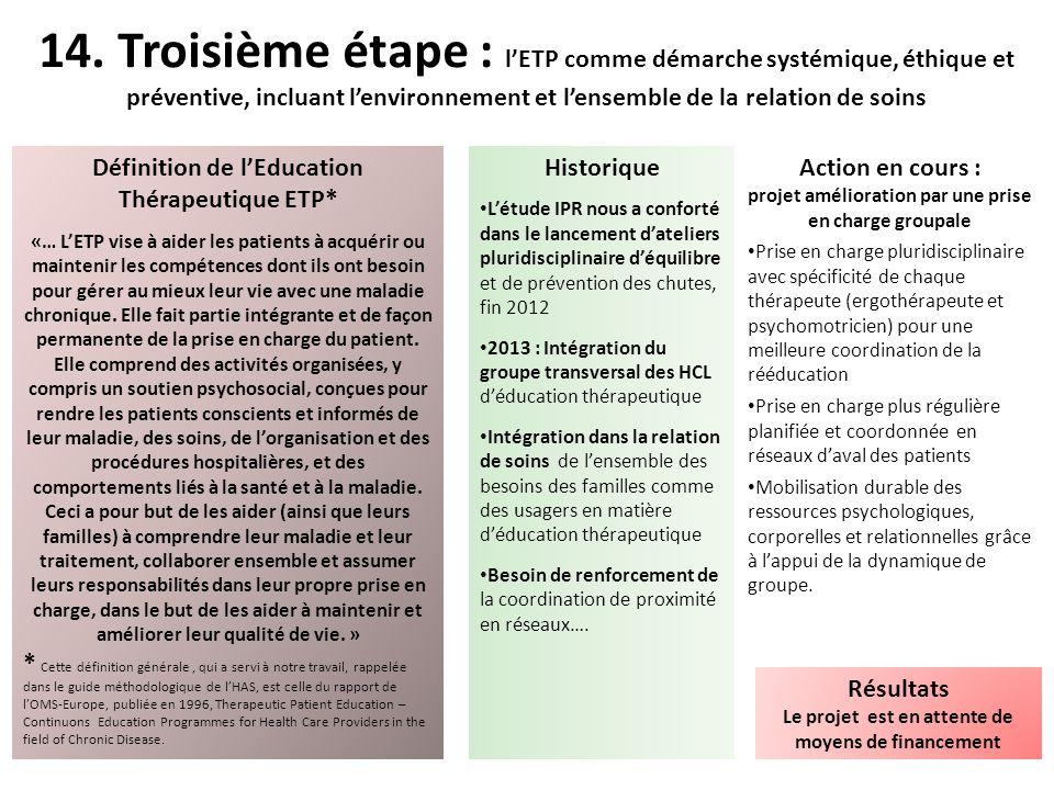 14. Troisième étape : l'ETP comme démarche systémique, éthique et préventive, incluant l'environnement et l'ensemble de la relation de soins