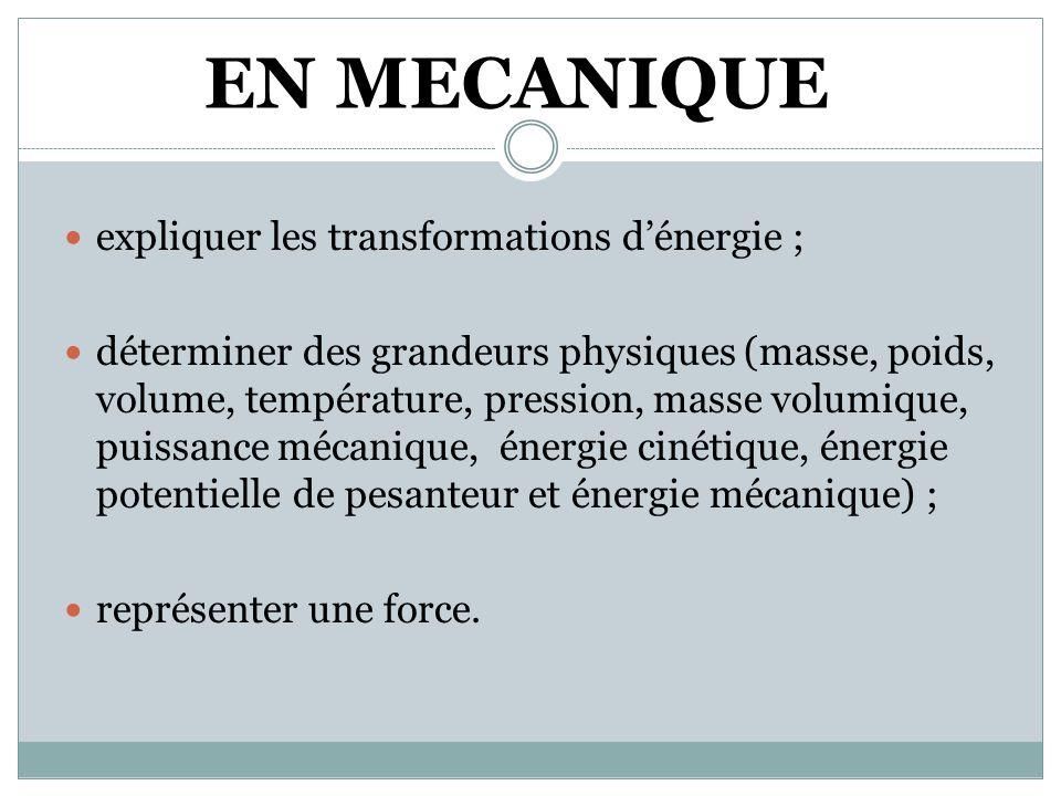 EN MECANIQUE expliquer les transformations d'énergie ;