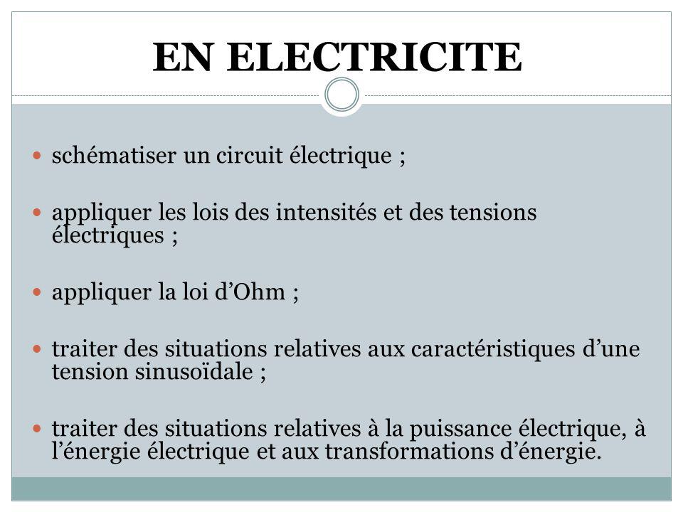 EN ELECTRICITE schématiser un circuit électrique ;