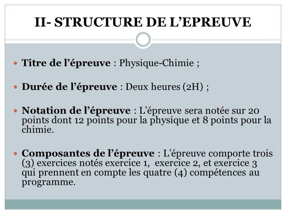 II- STRUCTURE DE L'EPREUVE
