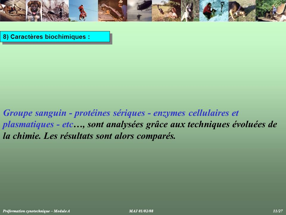 8) Caractères biochimiques :