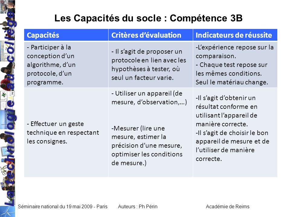 Les Capacités du socle : Compétence 3B
