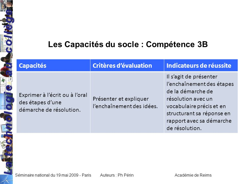 - mise en situation  cycle central