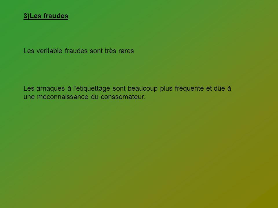 3)Les fraudes Les veritable fraudes sont très rares.