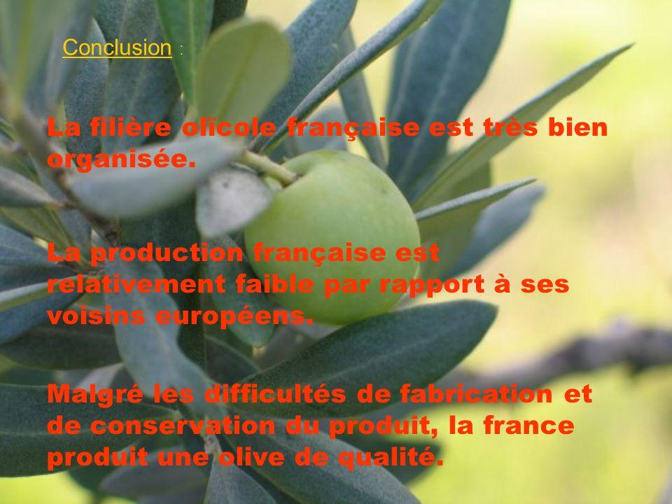 La filière olïcole française est très bien organisée.