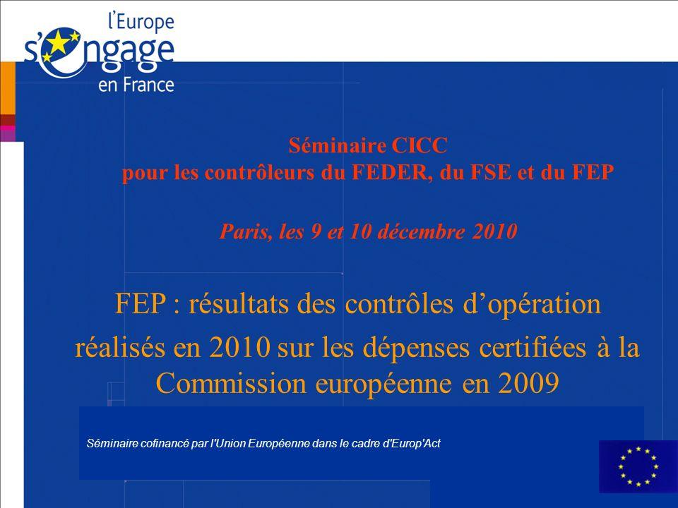 FEP : résultats des contrôles d'opération