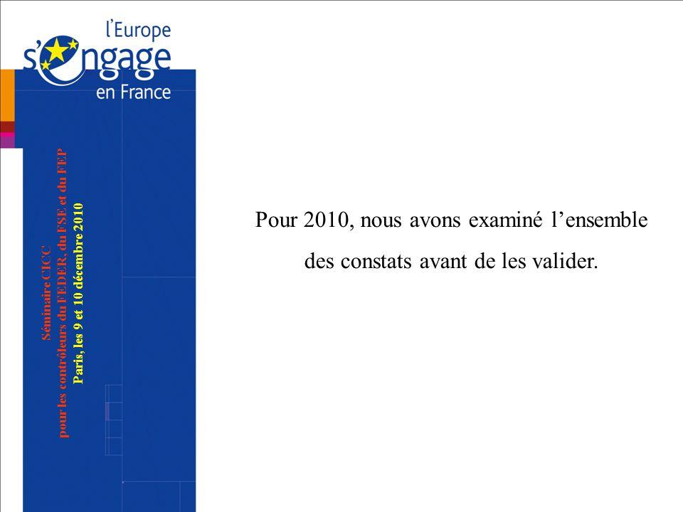 Pour 2010, nous avons examiné l'ensemble des constats avant de les valider.