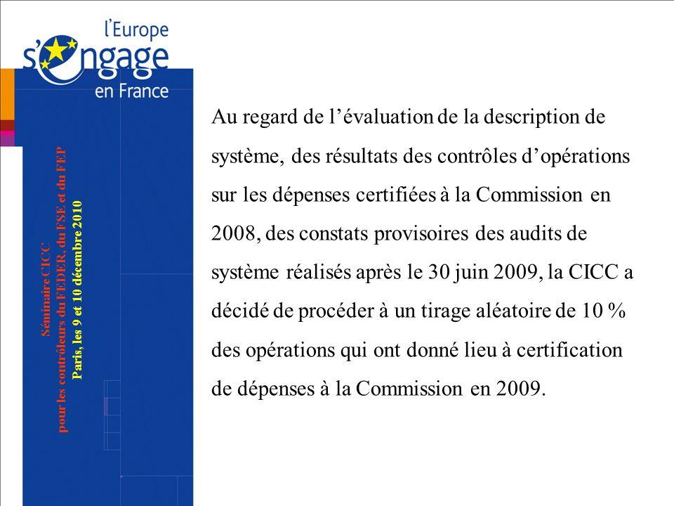 Au regard de l'évaluation de la description de système, des résultats des contrôles d'opérations sur les dépenses certifiées à la Commission en 2008, des constats provisoires des audits de système réalisés après le 30 juin 2009, la CICC a décidé de procéder à un tirage aléatoire de 10 % des opérations qui ont donné lieu à certification de dépenses à la Commission en 2009.