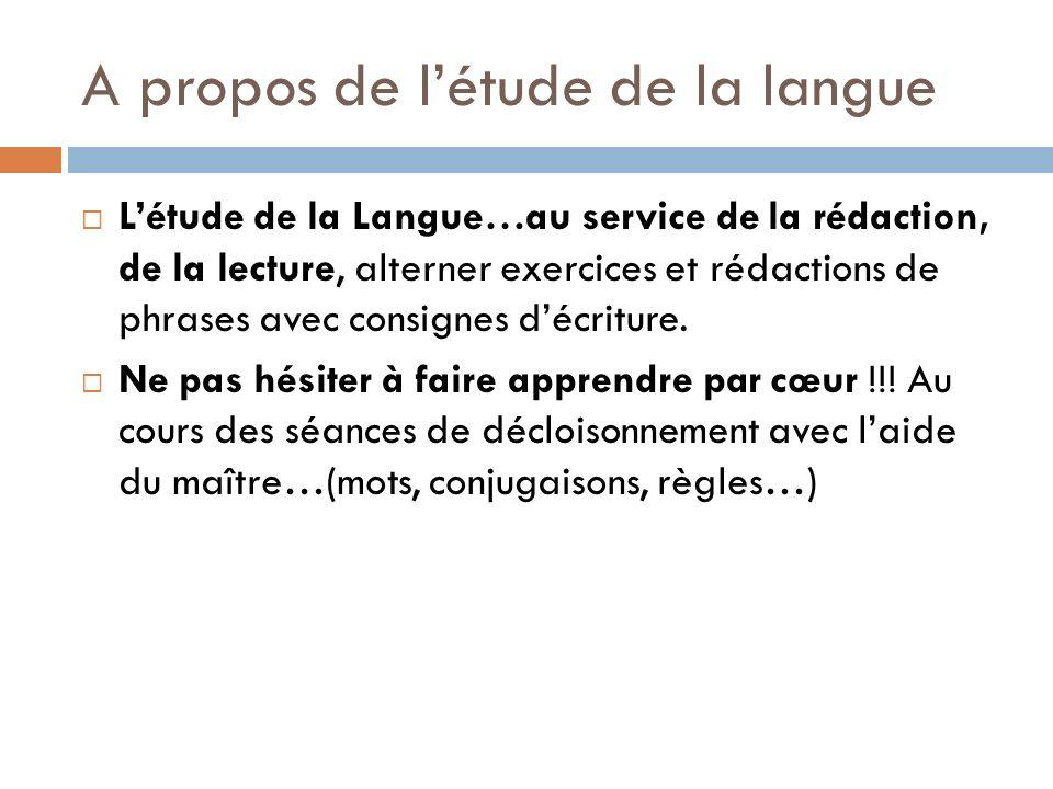 A propos de l'étude de la langue