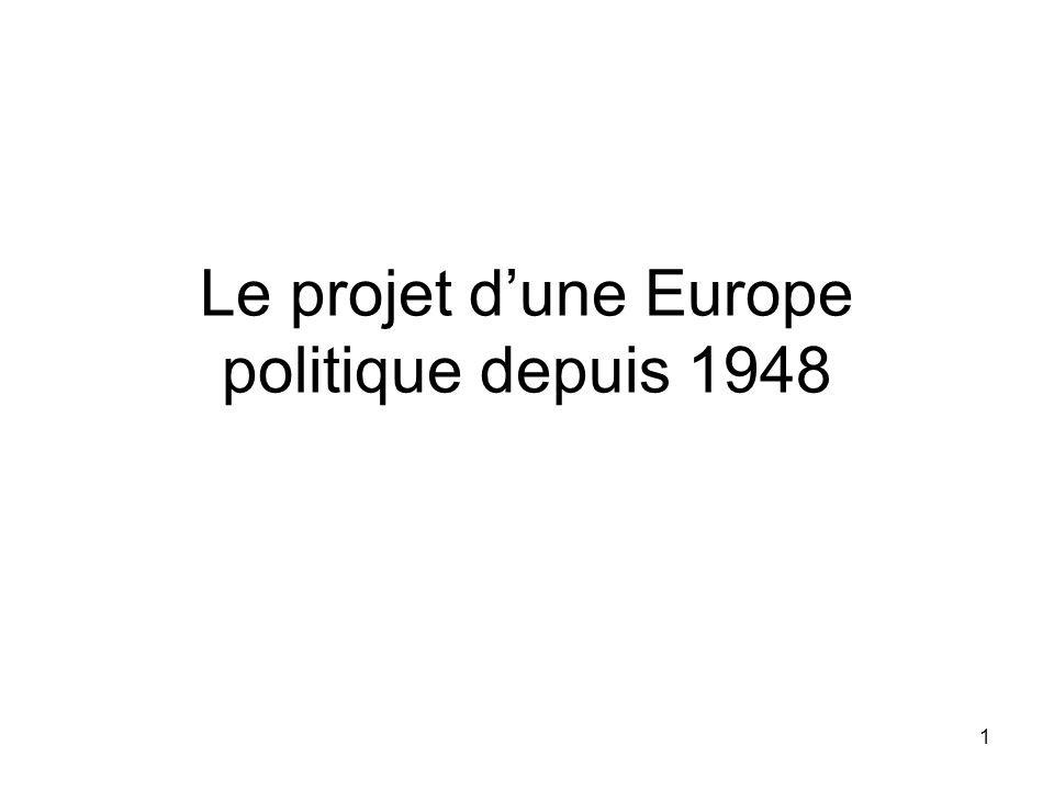 Le projet d'une Europe politique depuis 1948