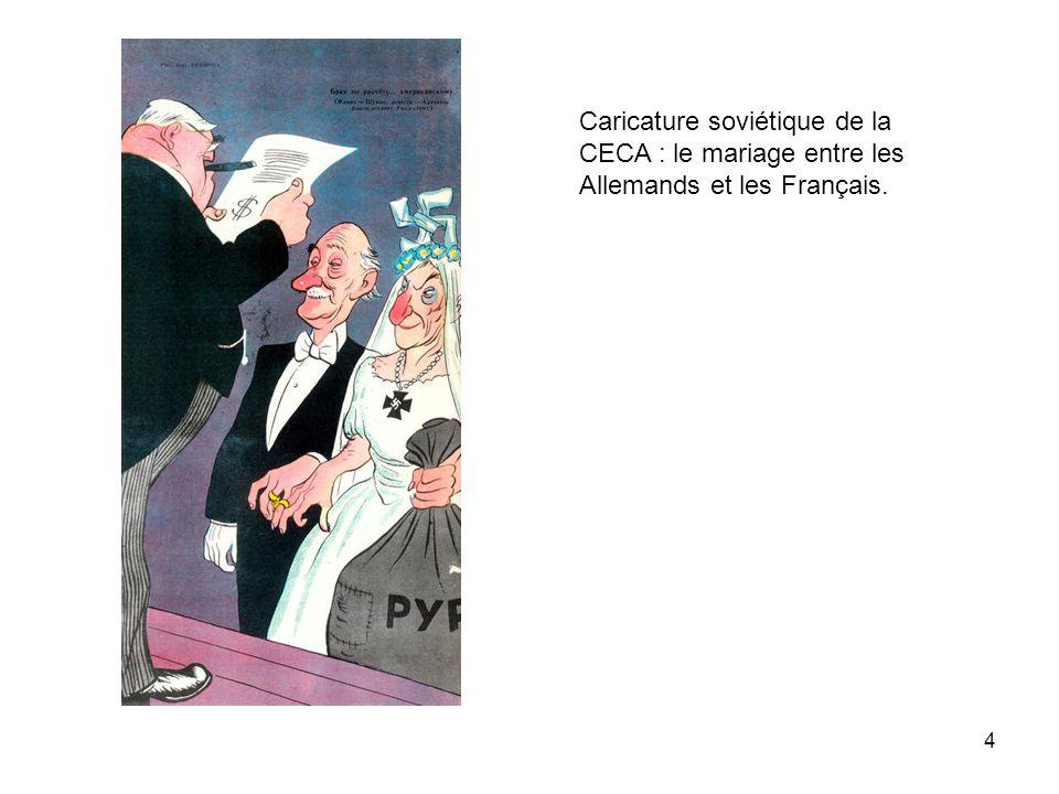 Caricature soviétique de la CECA : le mariage entre les Allemands et les Français.