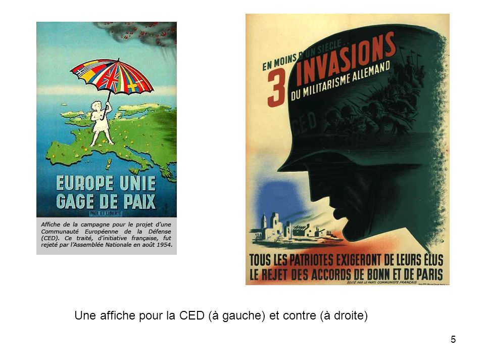Une affiche pour la CED (à gauche) et contre (à droite)
