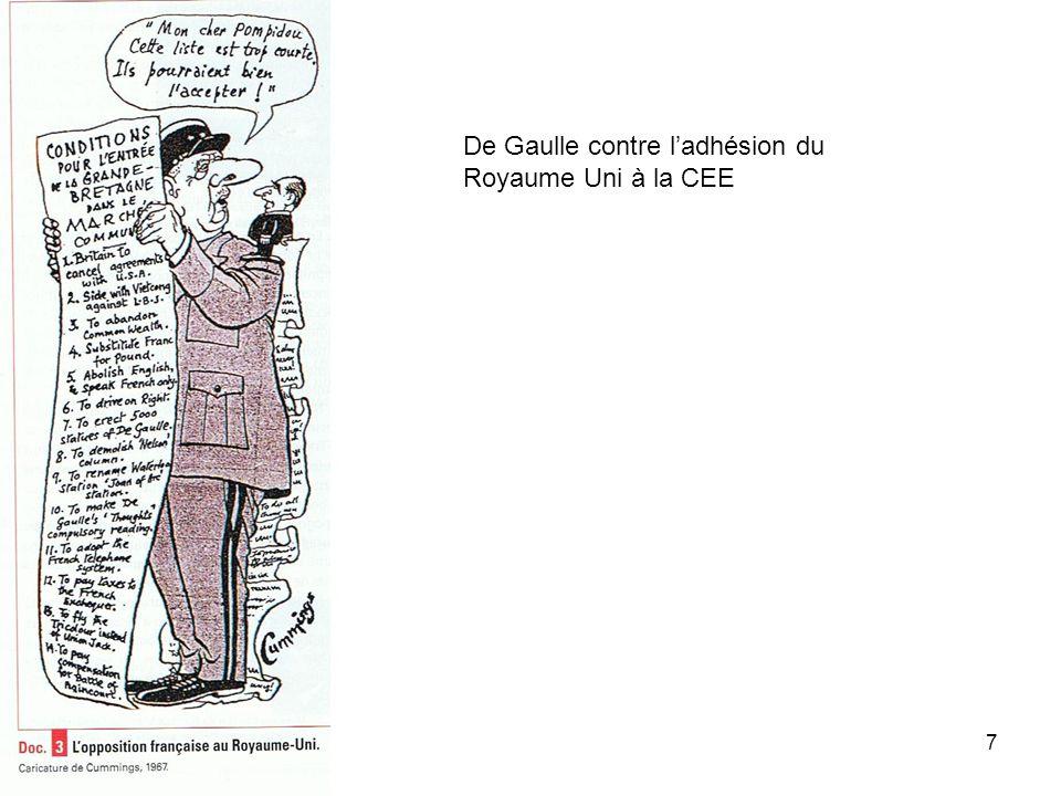 De Gaulle contre l'adhésion du Royaume Uni à la CEE