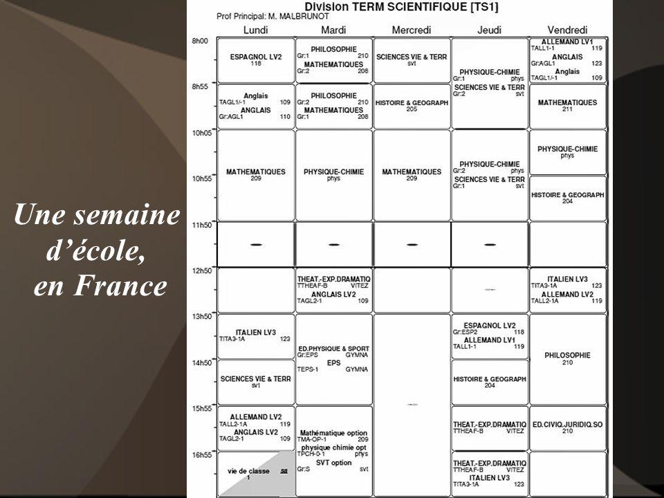 Une semaine d'école, en France