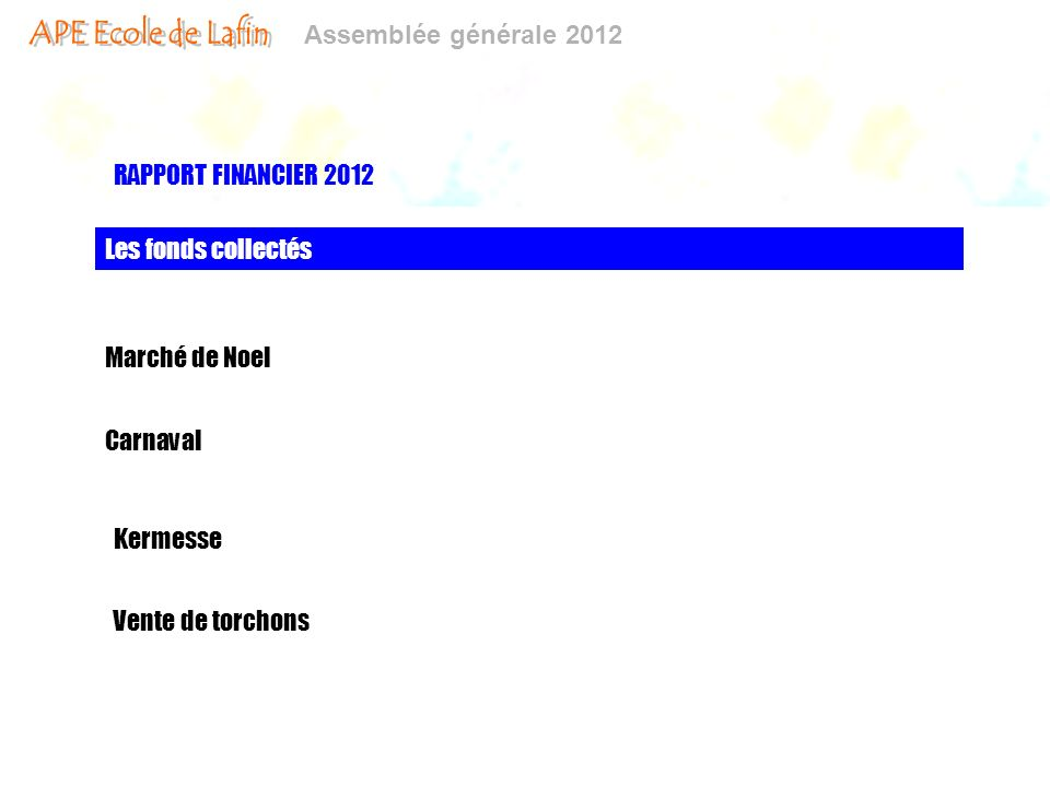 RAPPORT FINANCIER 2012 Les fonds collectés Marché de Noel Carnaval Kermesse Vente de torchons