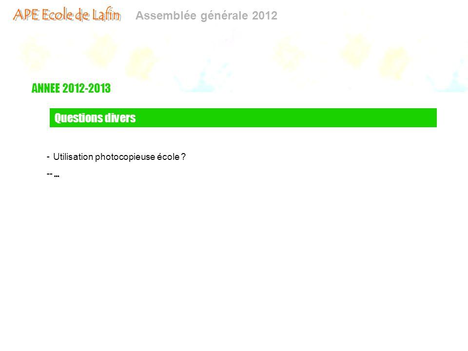 ANNEE 2012-2013 Questions divers Utilisation photocopieuse école - …