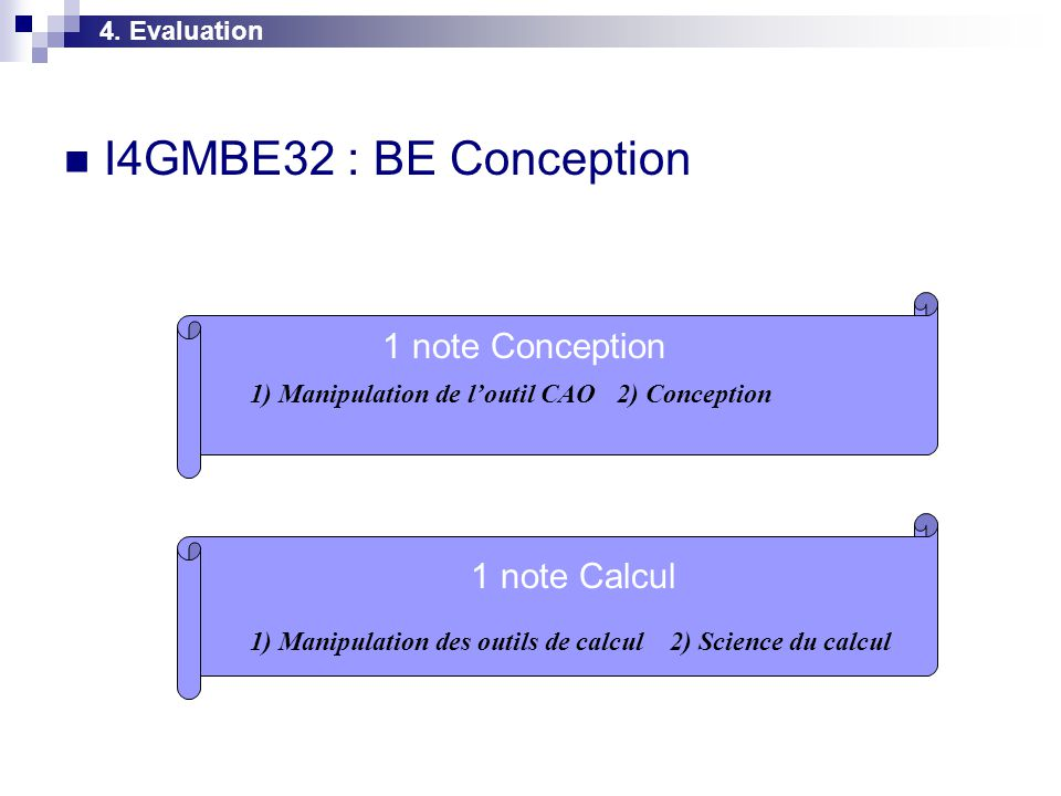 I4GMBE32 : BE Conception 1 note Conception 1 note Calcul 4. Evaluation
