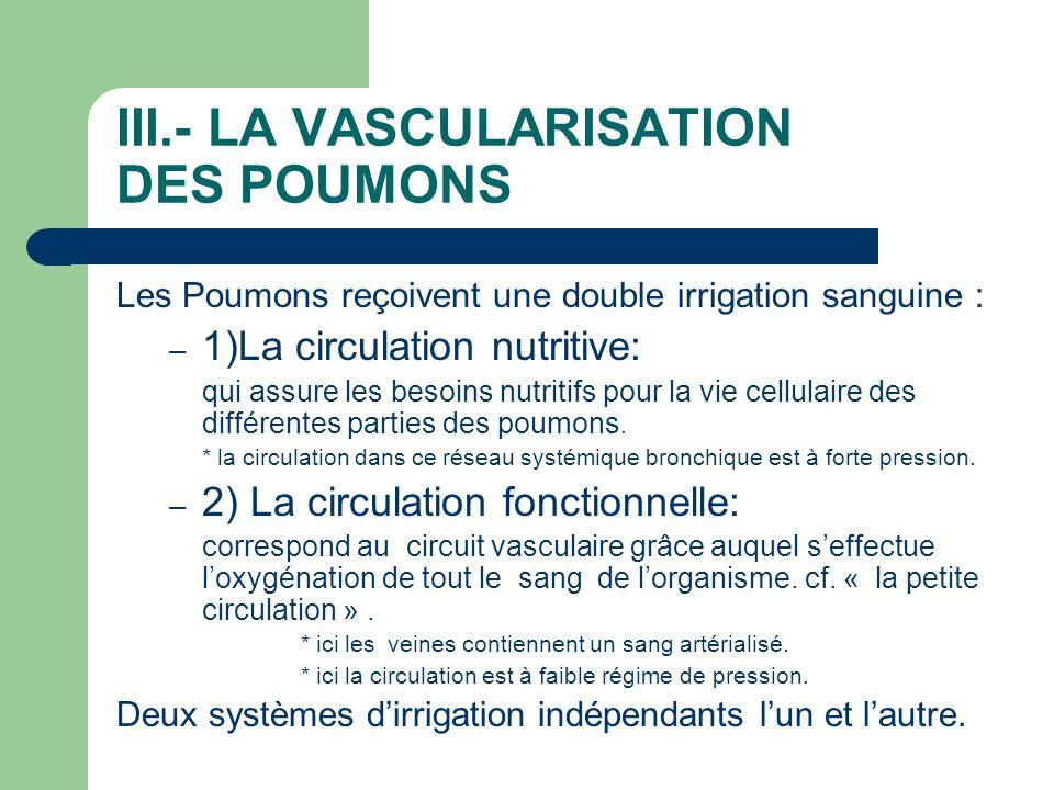 III.- LA VASCULARISATION DES POUMONS