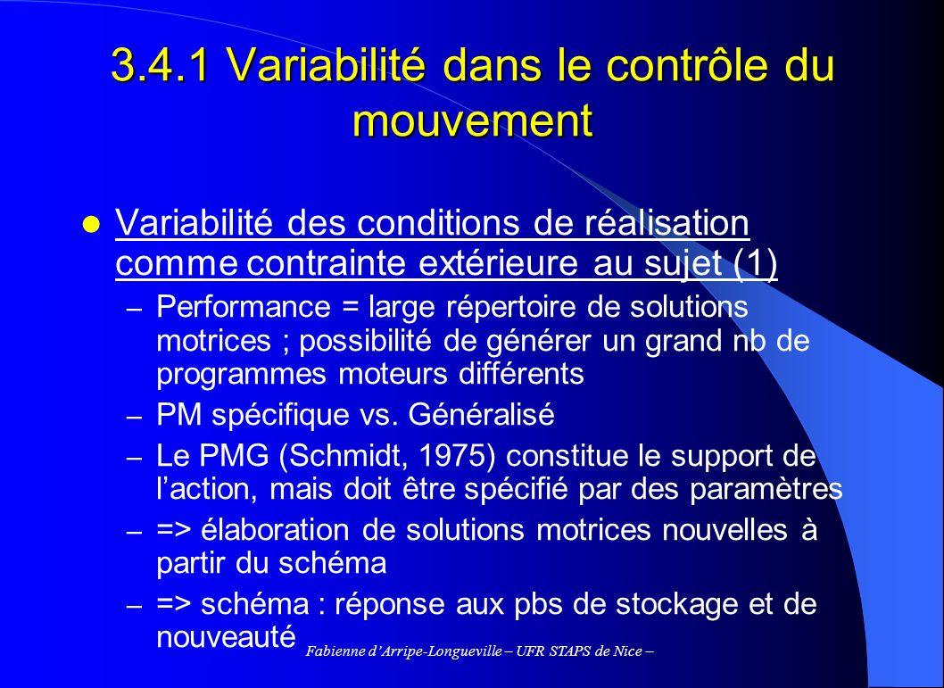 3.4.1 Variabilité dans le contrôle du mouvement