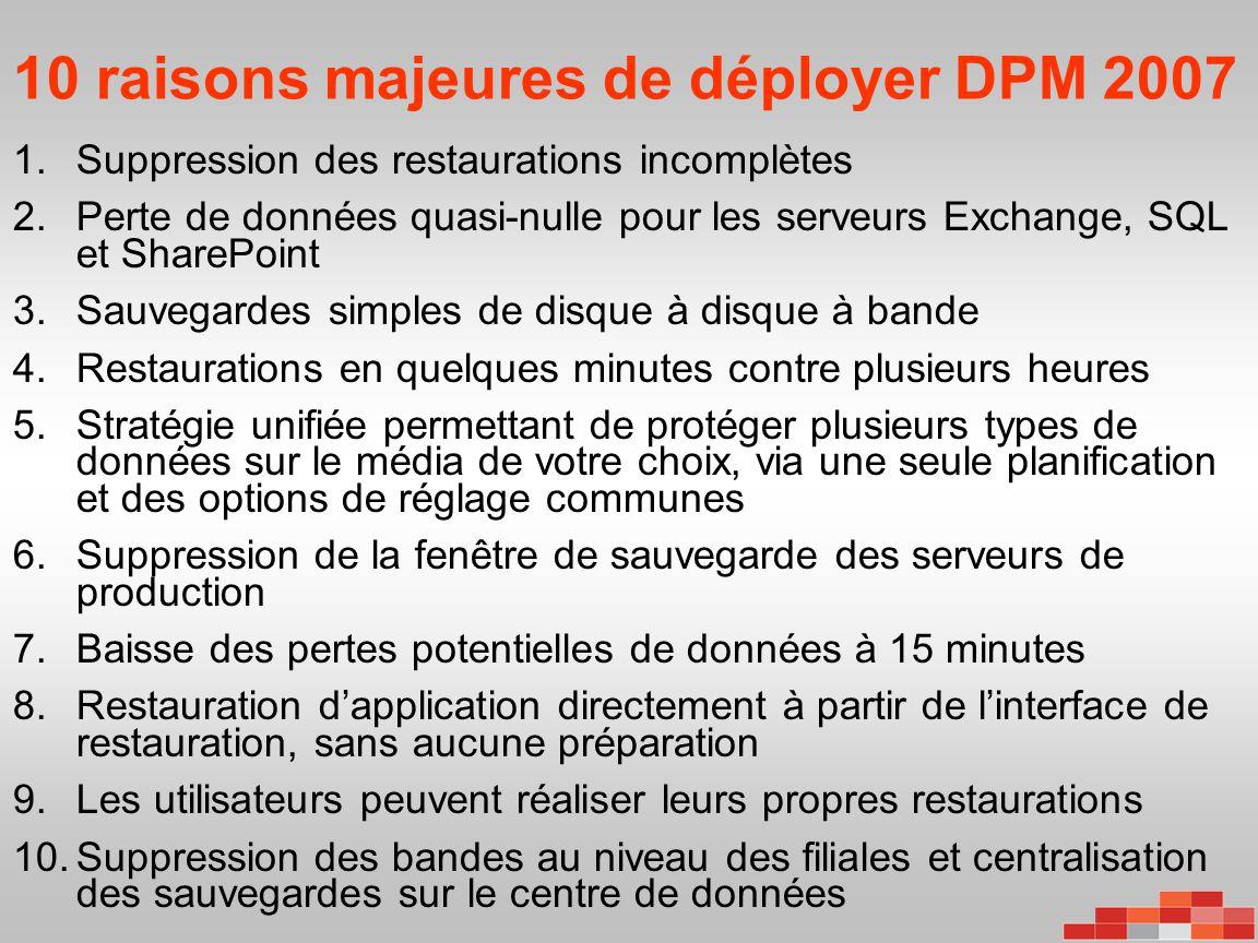 10 raisons majeures de déployer DPM 2007
