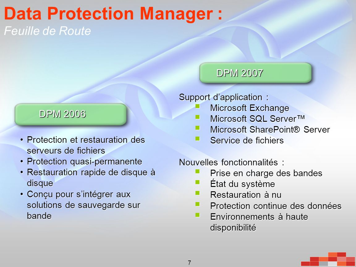 Data Protection Manager : Feuille de Route