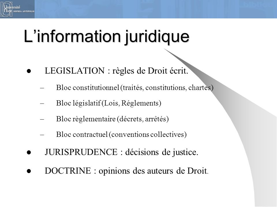 L'information juridique