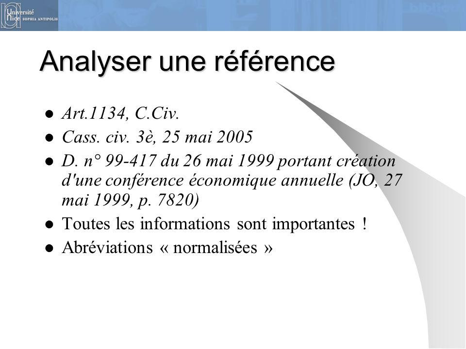Analyser une référence