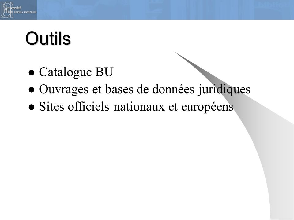 Outils Catalogue BU Ouvrages et bases de données juridiques