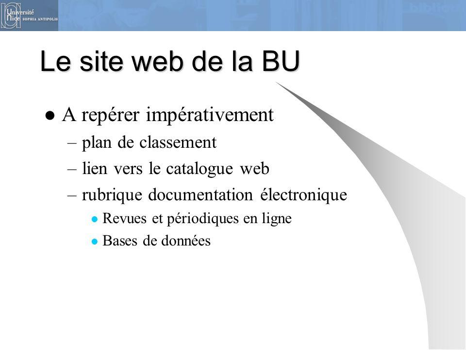 Le site web de la BU A repérer impérativement plan de classement
