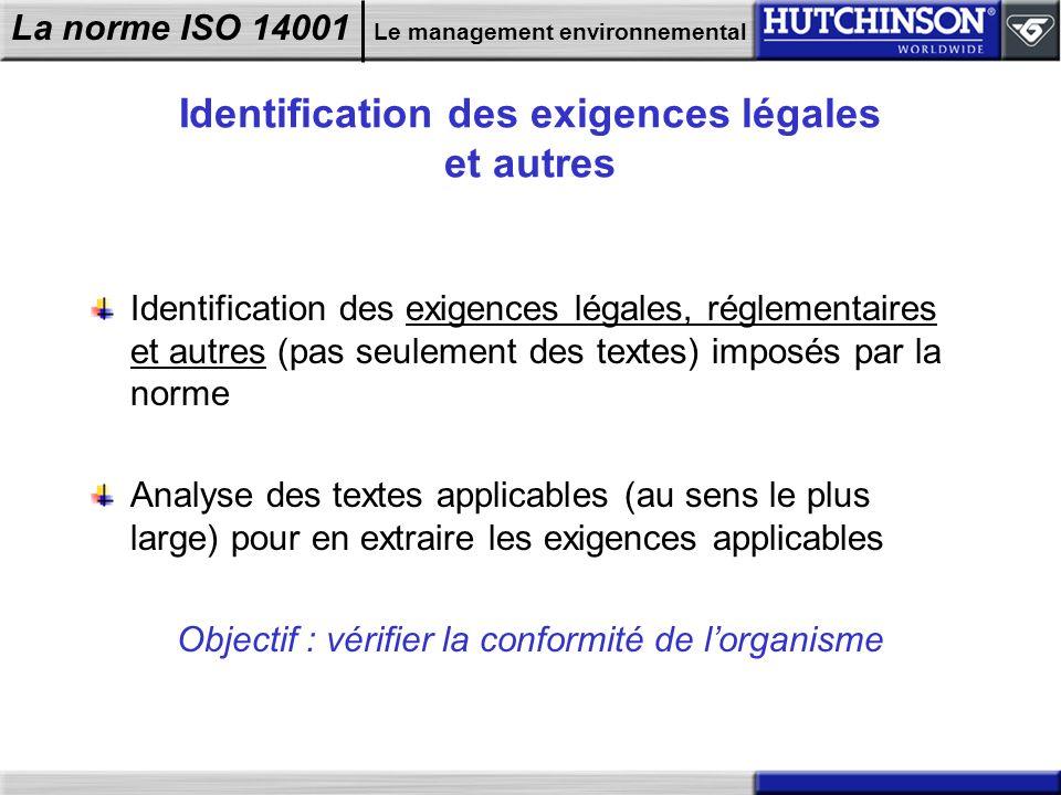 Identification des exigences légales et autres