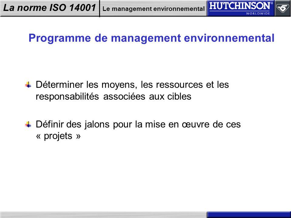 Programme de management environnemental