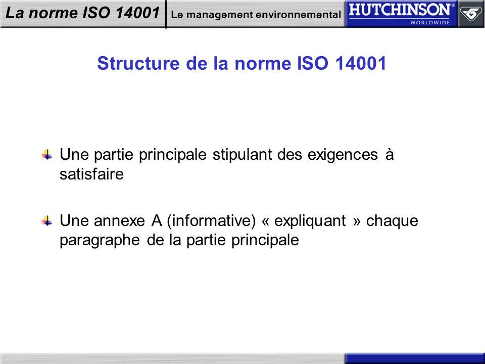 Structure de la norme ISO 14001