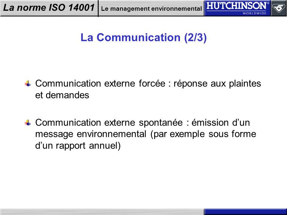 La Communication (2/3) Communication externe forcée : réponse aux plaintes et demandes.