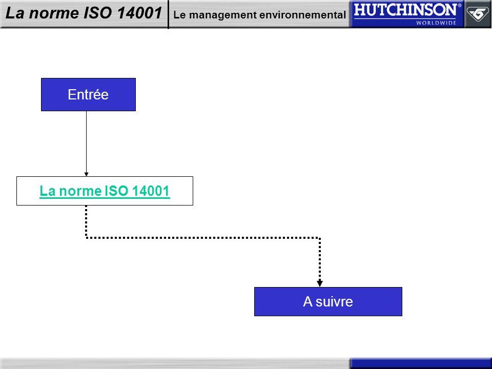 Entrée La norme ISO 14001 A suivre