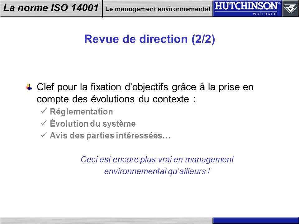 Revue de direction (2/2) Clef pour la fixation d'objectifs grâce à la prise en compte des évolutions du contexte :
