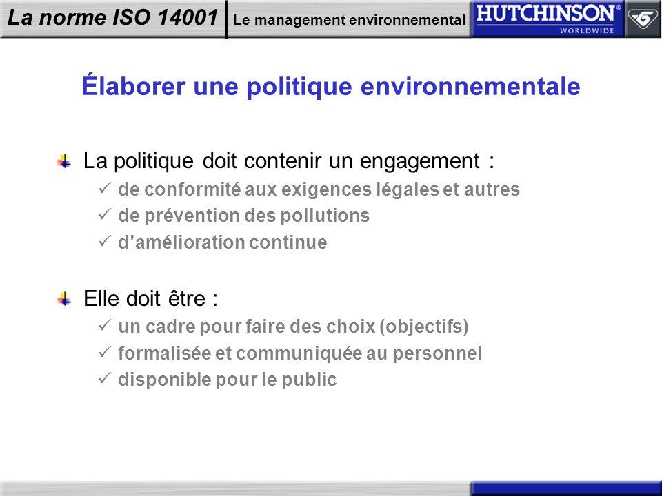 Élaborer une politique environnementale