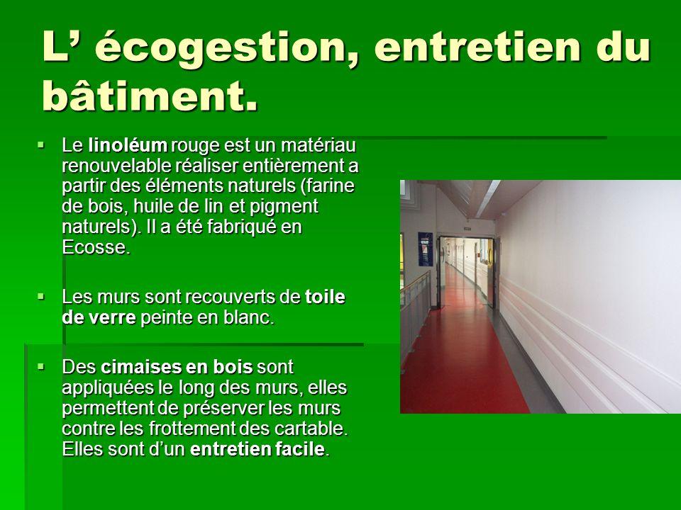 L' écogestion, entretien du bâtiment.