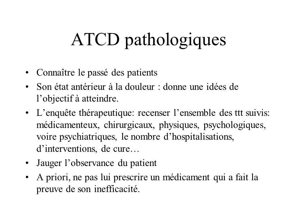 ATCD pathologiques Connaître le passé des patients