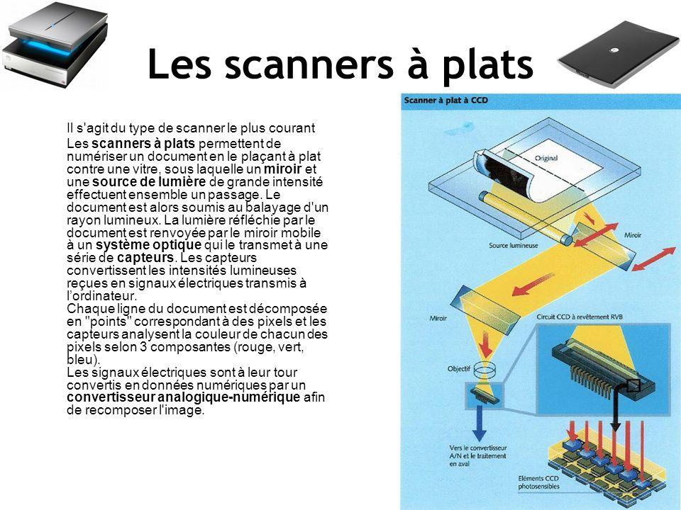 Les scanners à plats Il s agit du type de scanner le plus courant