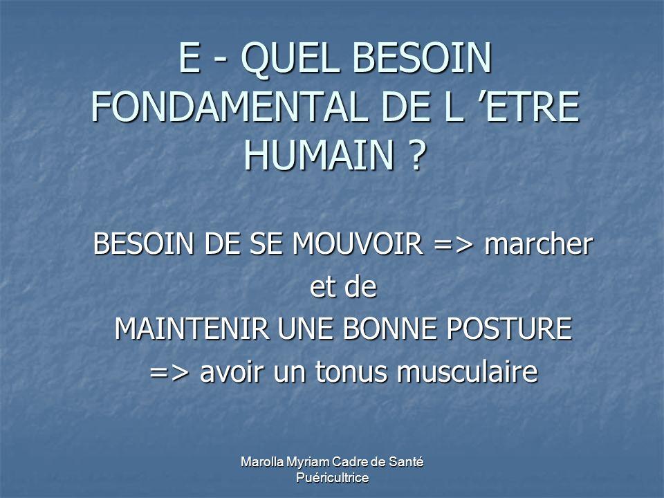 E - QUEL BESOIN FONDAMENTAL DE L 'ETRE HUMAIN