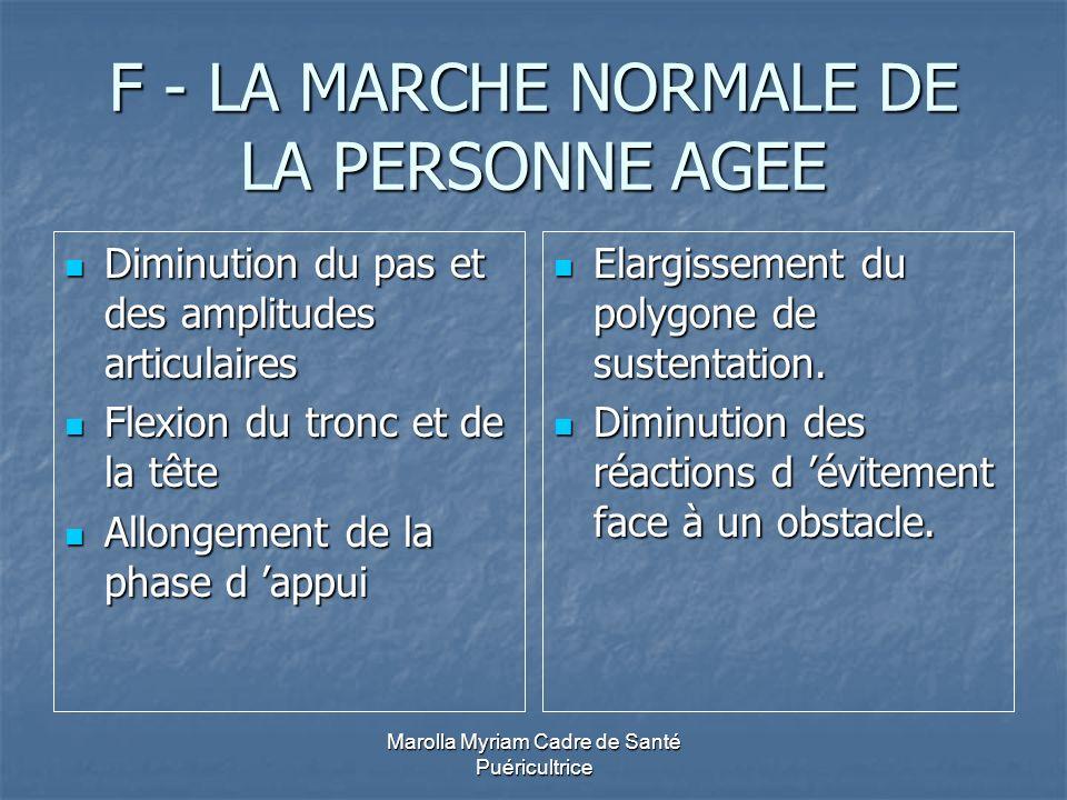 F - LA MARCHE NORMALE DE LA PERSONNE AGEE