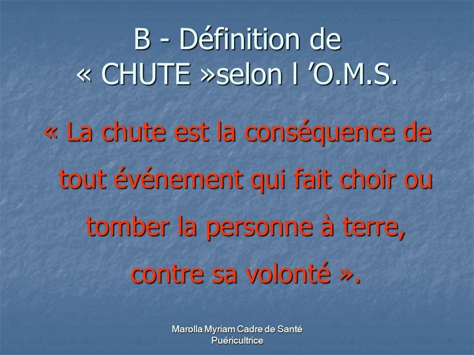 B - Définition de « CHUTE »selon l 'O.M.S.