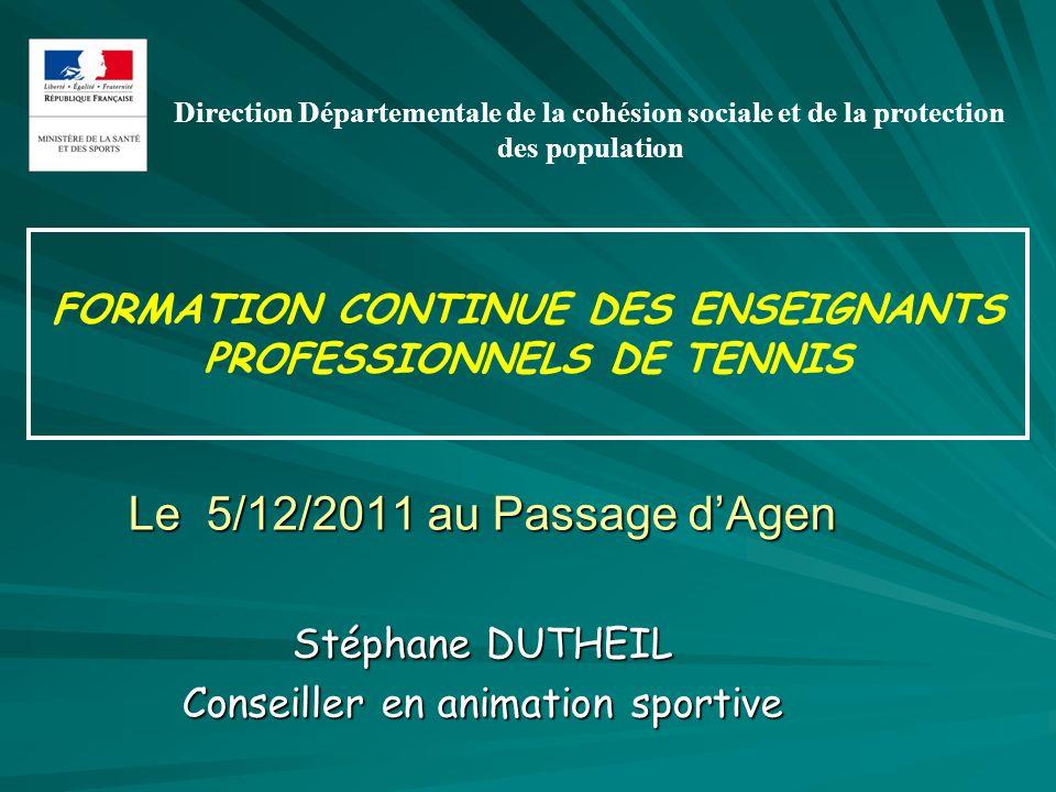 FORMATION CONTINUE DES ENSEIGNANTS PROFESSIONNELS DE TENNIS