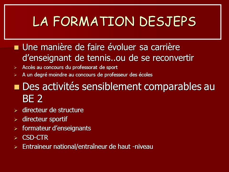 LA FORMATION DESJEPS Des activités sensiblement comparables au BE 2
