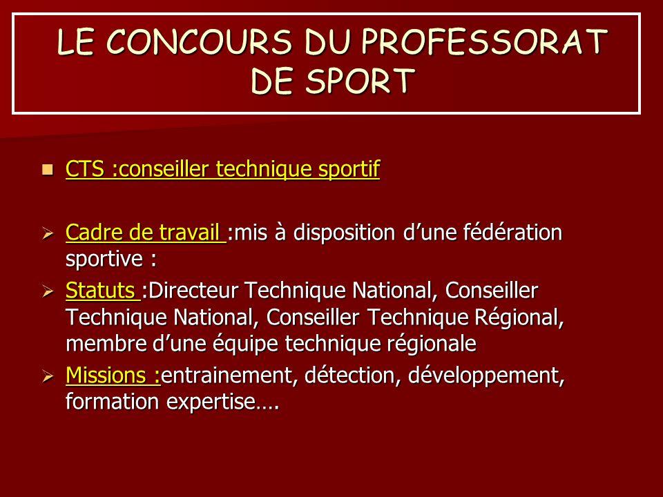 LE CONCOURS DU PROFESSORAT DE SPORT